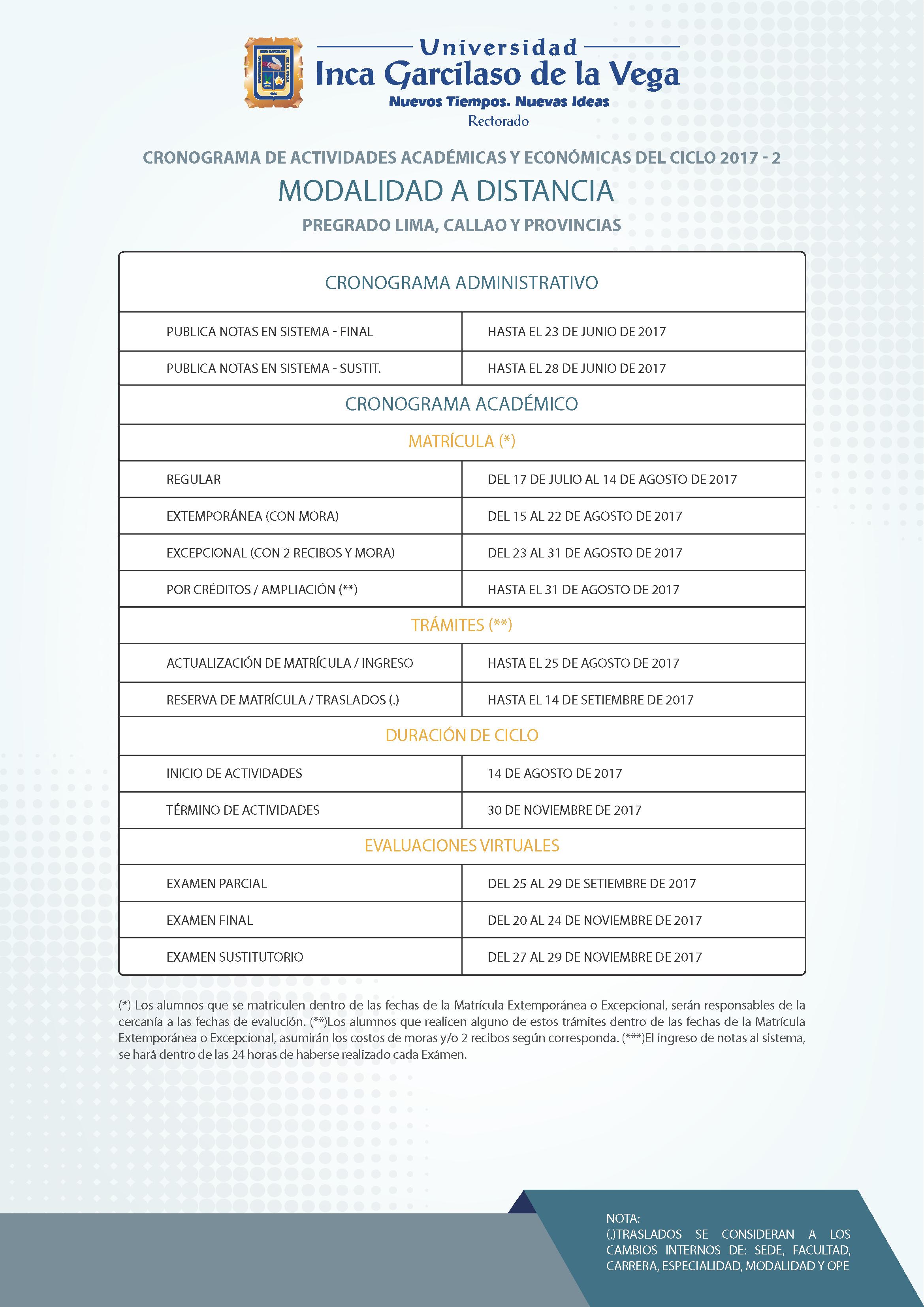 Cronograma 2017-2. Sistema a Distancia