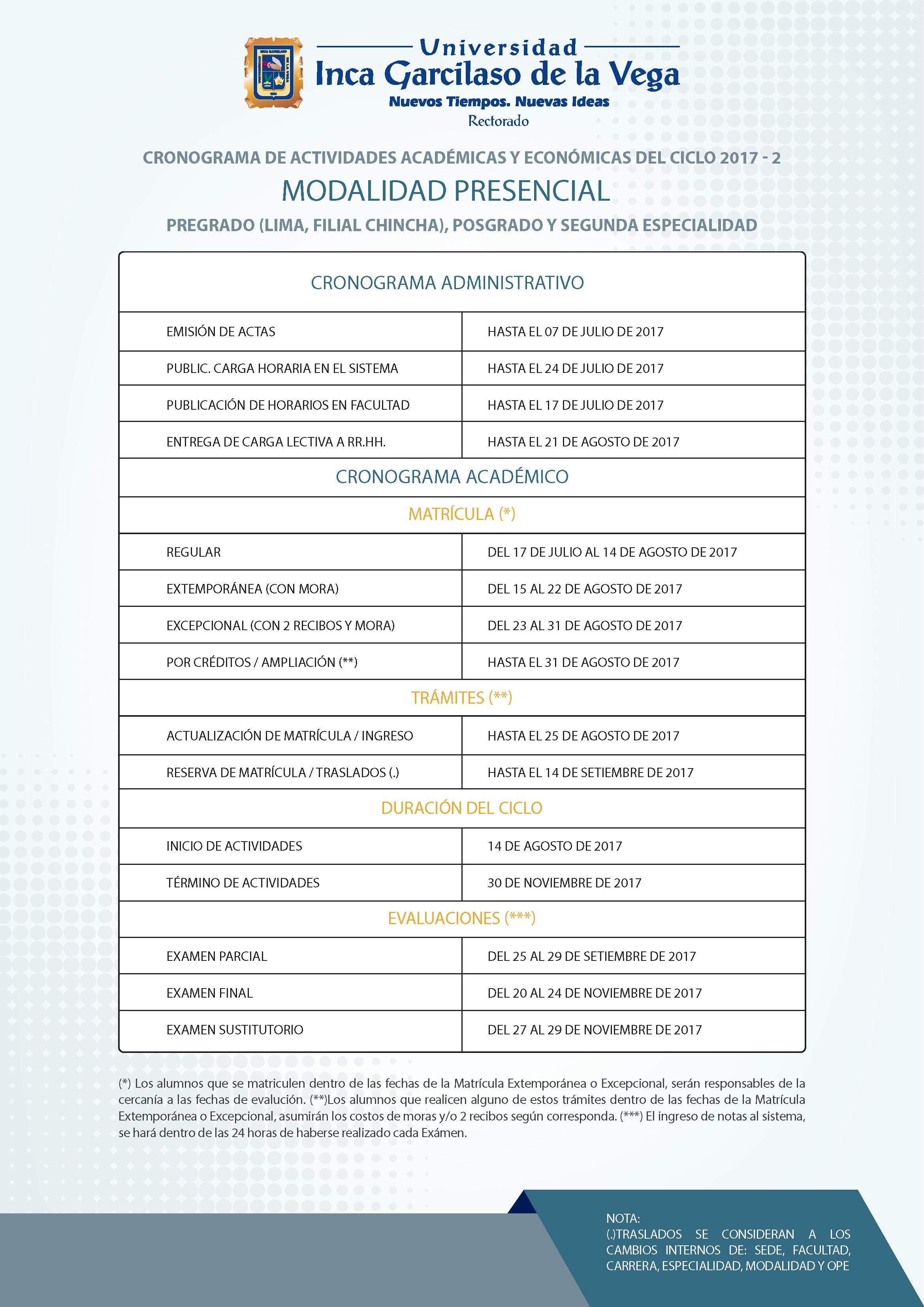 Cronograma 2017-2. Sistemas Presencial