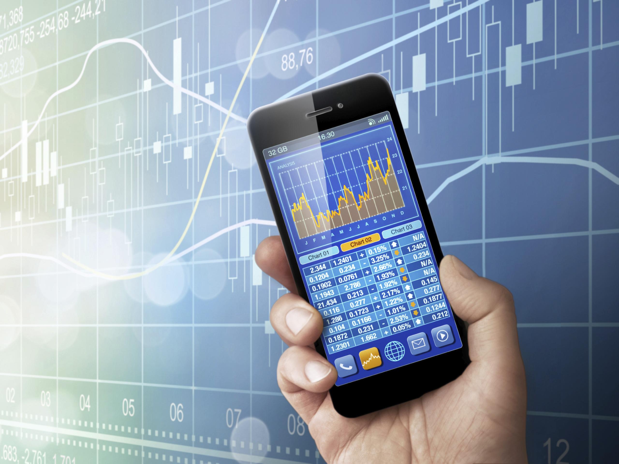 Smartphone before Businesschart