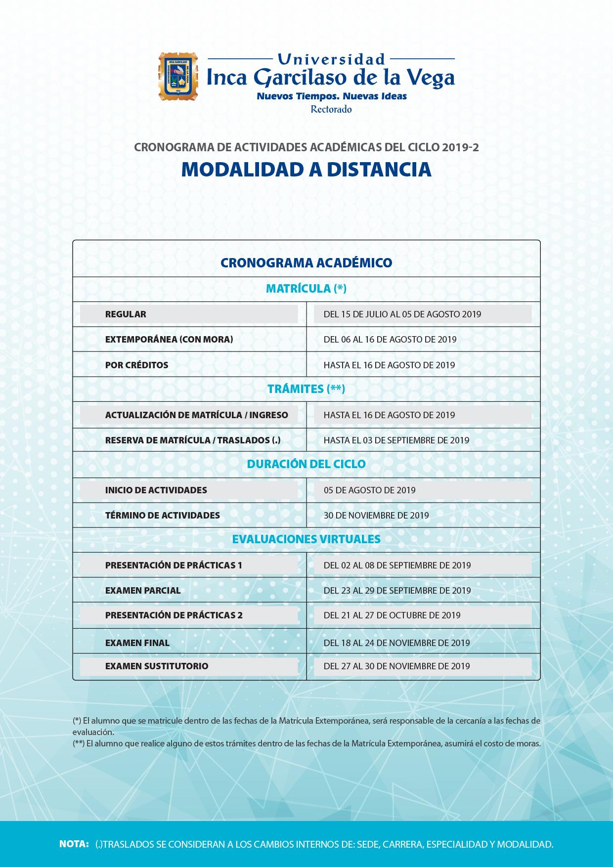 Cronograma 2019-2. Sistema a Distancia