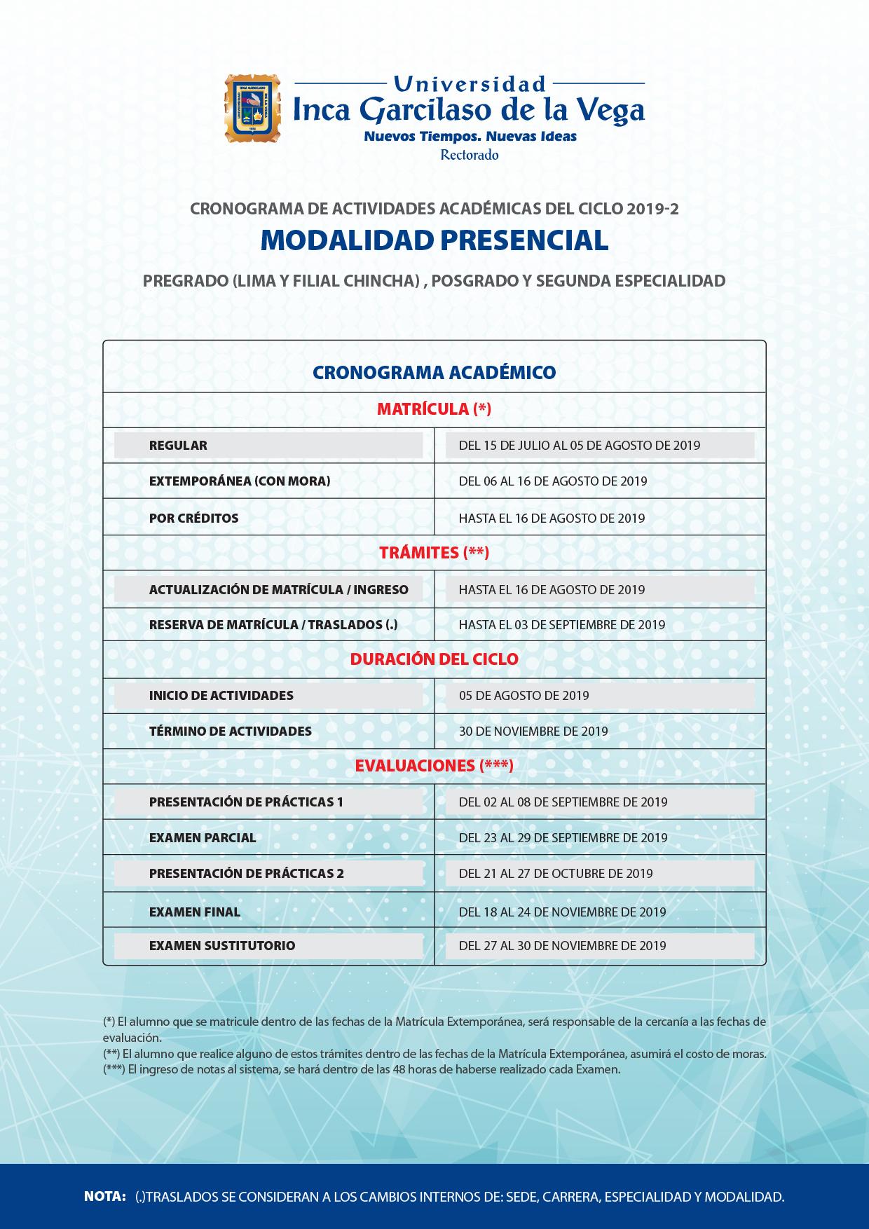Cronograma 2019-2. Sistemas Presencial